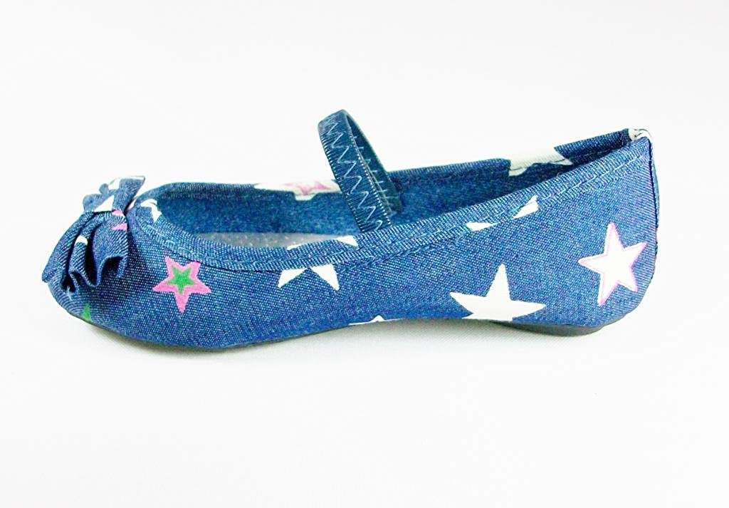 Simply Petals Little Toddler Girls Starie Star Print Denim Mary Jane Ballet Flats
