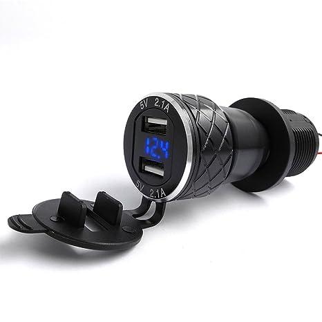 Ranuw - Cargador USB Dual de Aluminio para Motocicleta (Enchufe DIN 4,2 A, Voltímetro para Motocicleta BMW)