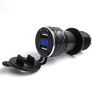 Ranuw Doble USB 4.2 A Cargador DIN Socket LED Voltímetro para BMW Triumph Hella Motociclismo
