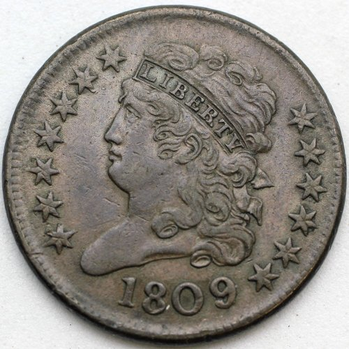 U.S. 1809/6 Classic Head Half Cent 9 Over Inverted 9