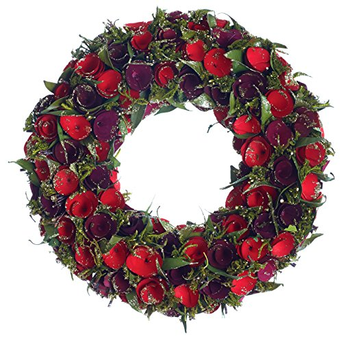 Bright and Colorful Wood Flower Holiday Wreath
