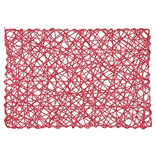 placemats Square Woven Placemat 100 Paper Fiber DIY Handmade Background Cloth Paper Woven Hanging Paper Rope Placemat for Kitchen Restaurant Living Room Wedding Birthday Party ()