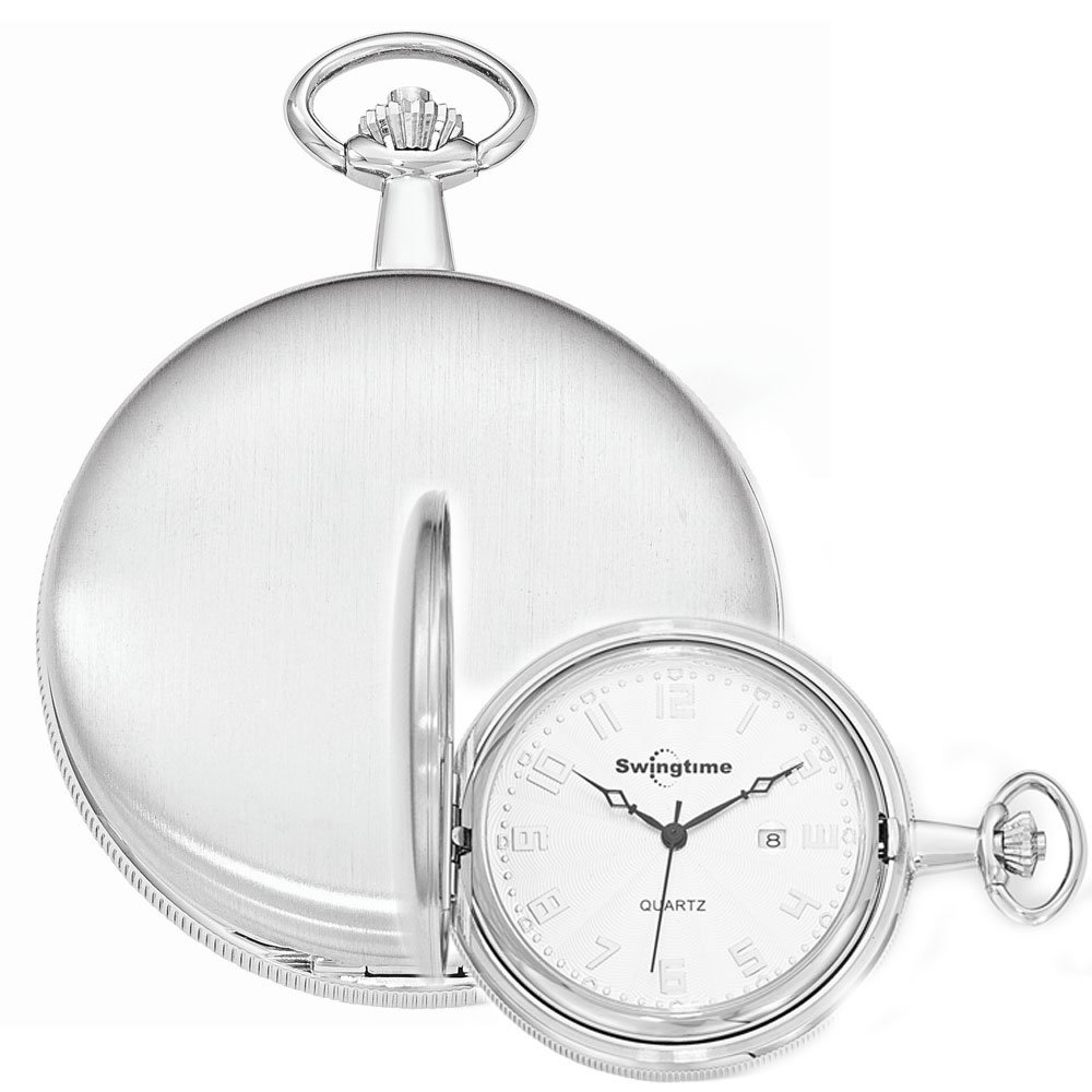 Swingtime Engravable Chrome Brass Swiss Quartz Mens Pocket Watch by Swingtime