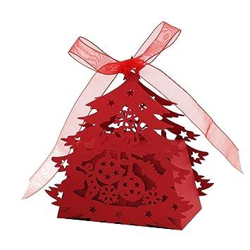 20pcs Papier Boîtes à Bonbons Cadeau Avec Ruban Motif Découpé De