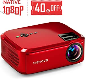 """Crenova Projector Native 1080p LED Video Projector, 5500 Lux HDMI Projector with 200"""" Image Display Compatible with TV Stick, HDMI, VGA, USB, Laptop, Phone for Home Theater"""
