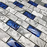 """brick fireplace remodel Hominter 5-Sheets Navy Blue Glass Mosaic Tile Rectangle, Gray Natural Marble 1"""" x 2"""" Subway Mini Brick, Wall and Floor Tiles in Bathroom and Kitchen Backsplash NB03"""