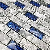 "tile bathroom wall Hominter 5-Sheets Navy Blue Glass Mosaic Tile Rectangle, Gray Natural Marble 1"" x 2"" Subway Mini Brick, Wall and Floor Tiles in Bathroom and Kitchen Backsplash NB03"