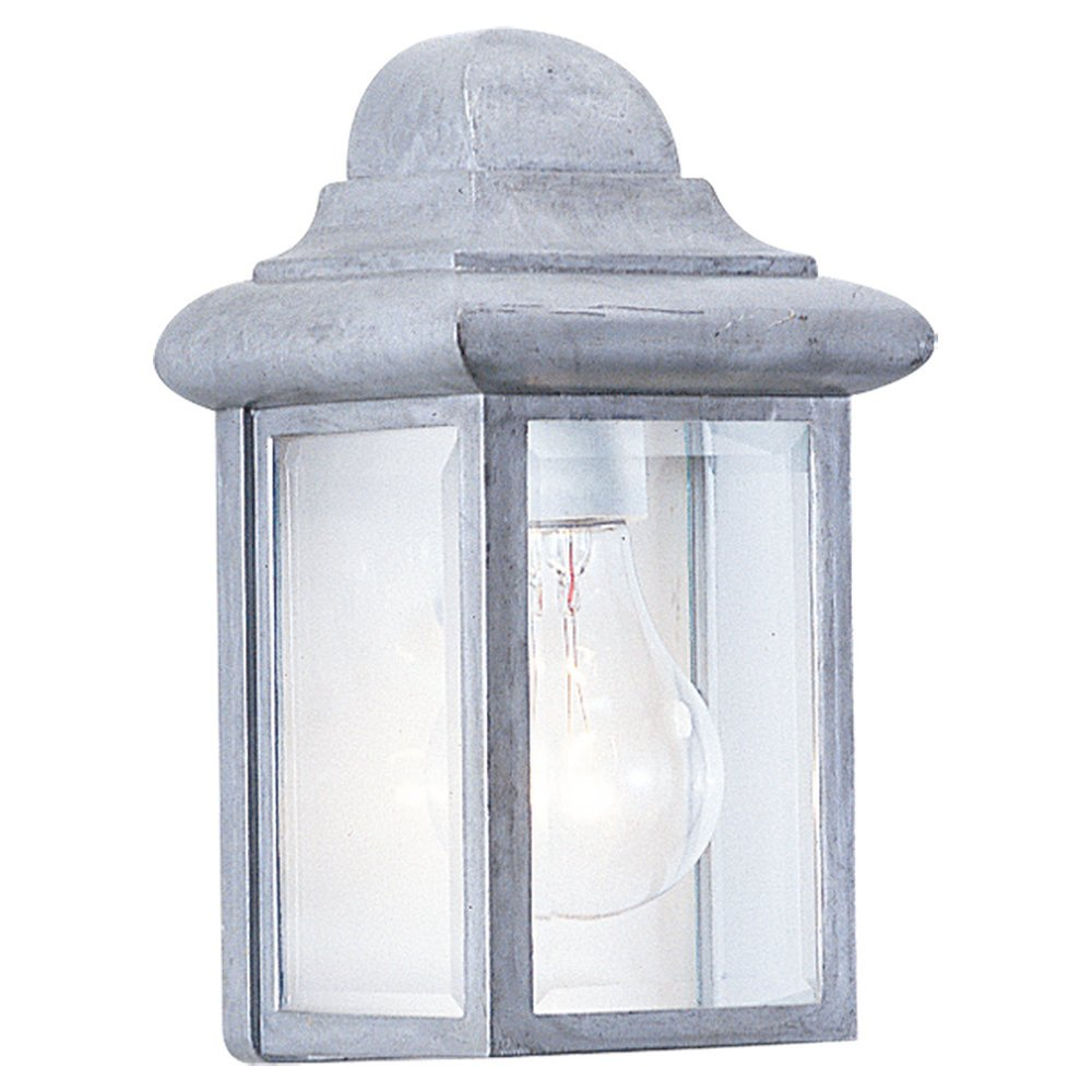Sea Gull Lighting 8588-155 Single-Light Mullberry Hill Outdoor Wall Lantern with Clear Beveled Glass, Pewter