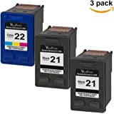 Valuetoner Remanufactured Ink Cartridge Replacement For 21 & 22 CB311BN C9351AN C9352AN (2 Black, 1 Tri-Color) 3 Pack