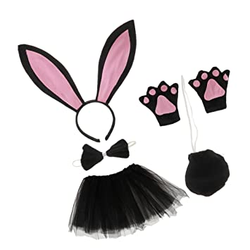 Sharplace Conejo Disfraz Vestuario de Tutú Fiesta de Cumpleaño de Niños Atrezo de Fiesta Utillaje para Niñas Negro