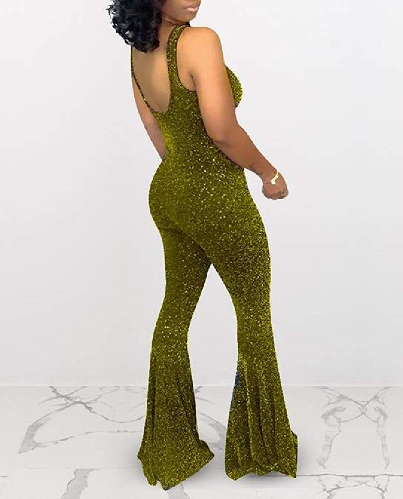 Losait Womens Tank Flare Overall Sequin Nightclub Bodycon Jumpsuits Dress