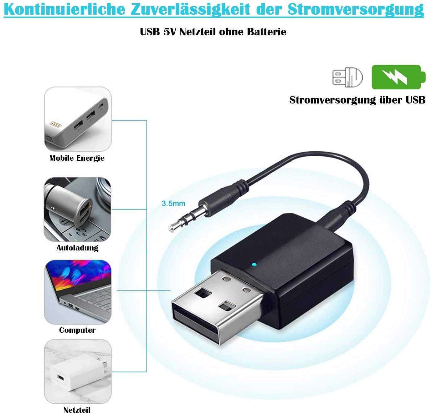 2-in-1 Wireless 3.5mm Adapter Bluetooth 5.0 Sender und Empf/änger aptX Low Latency, 2 Ger/äte gleichzeitig, f/ür TV//Home Sound System