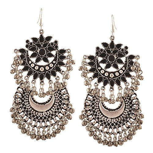 ywood Style Traditional Indian Jewelry Oxidized Silver Dangle and Drop Earrings for Women ()