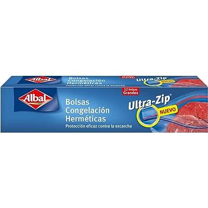 Albal Bolsas de congelación, ULTRA-ZIP, cierre hermético, tamaño mediano (3L), 12 unidades, 27 x 24 cm
