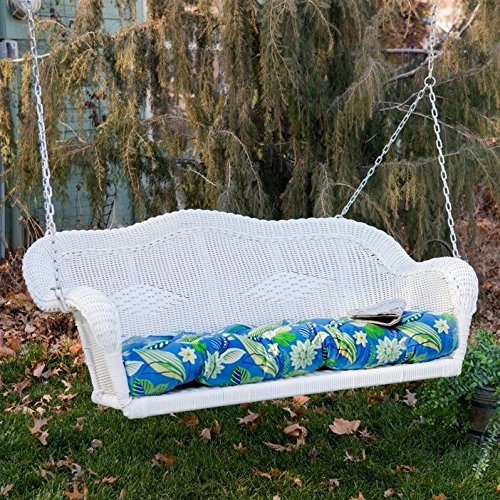 Blazing Needles REO Outdoor Spun Poly Loveseat Patio Bench Cushion - 42 x 19 in. - All Weather Wicker Swing