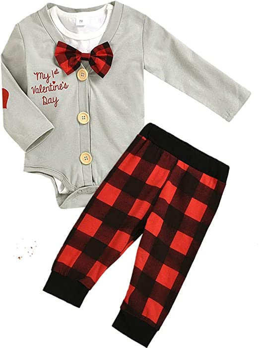 3PCS Newborn Infant Baby Boys Valentine/'s Day Letter Romper+Pants+Hat Outfits