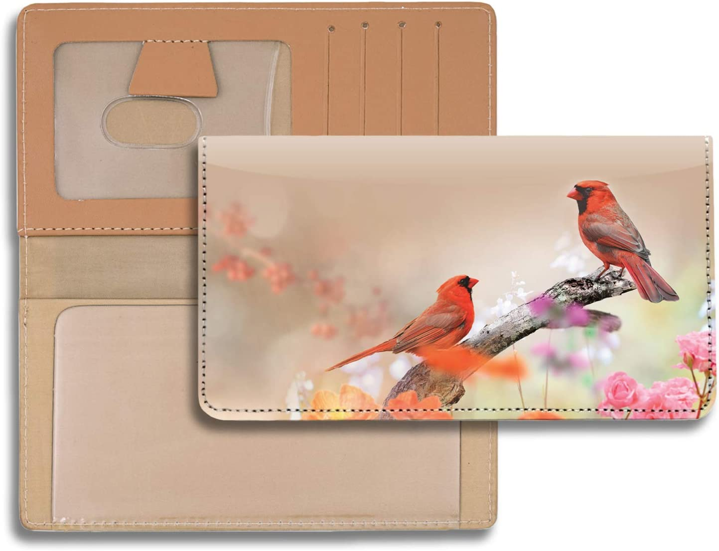 Tranquil Birds Personal Leather Checkbook Cover for Top Tear Personal Checks