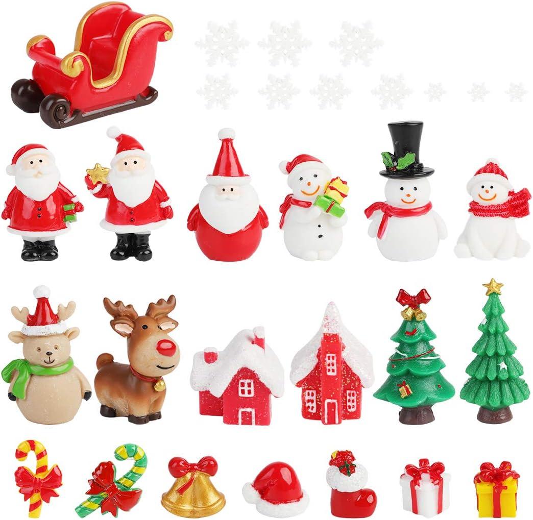 FunPa Christmas Mini Ornaments,30PCS Mini Resin Christmas Ornaments Decor for DIY Fairy Garden Dollhouse Decoration Desktop Christmas Decoration