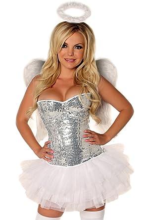 95e7cbc04 Amazon.com  Daisy corsets Women s Elite 4 Piece Sequin Angel Costume ...