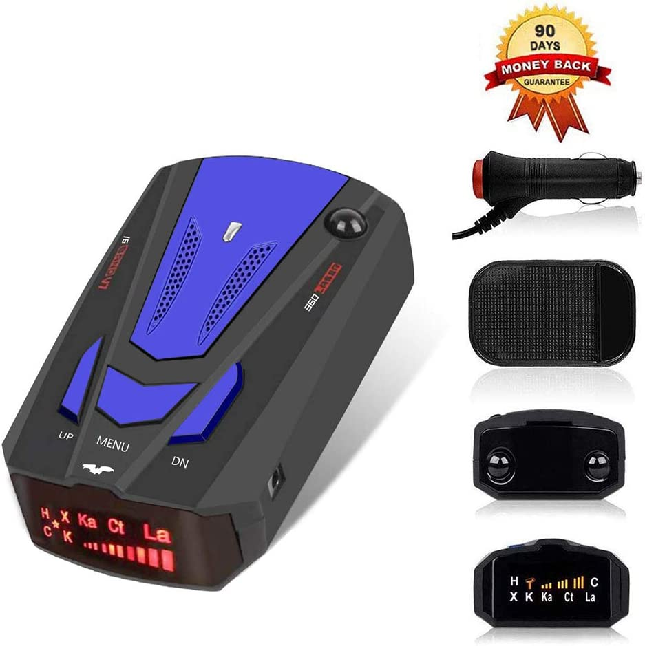 Laser Radar Detector for Cars, Prompt Speed, City/Highway Mode, 360 Degree Detection Policy Radar Detectors Kit with LED Display(Blue)