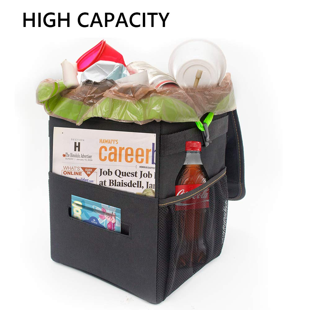 Carrep Car Trash Can with Lid,Compact 2.2 Gallon Vehicle Trash Can Hanging Car Trash Bag Garbage Can Waterproof Car Trash Bin