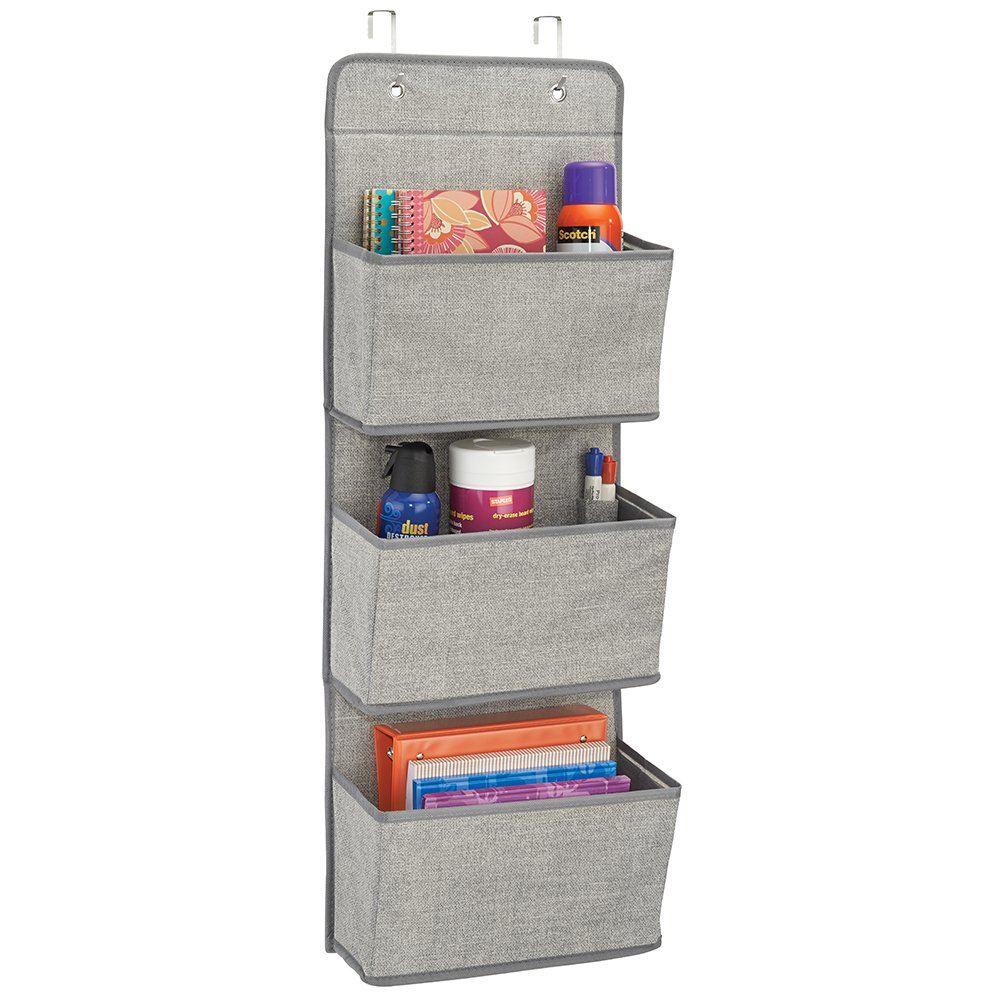 mDesign Soft Fabric Over the Door Hanging Storage Organizer with 3 Large Cascading Pockets, Holder for Office Supplies, Planners, File Folders, Notebooks - Textured Print, Gray