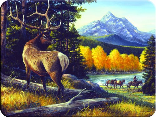 Rivers Edge Tempered Glass Cutting Board with Image of Elk, Man with Mules, with Mountain Range as Backdrop (Elk, 16-Inchx12-Inchx.5-Inch)