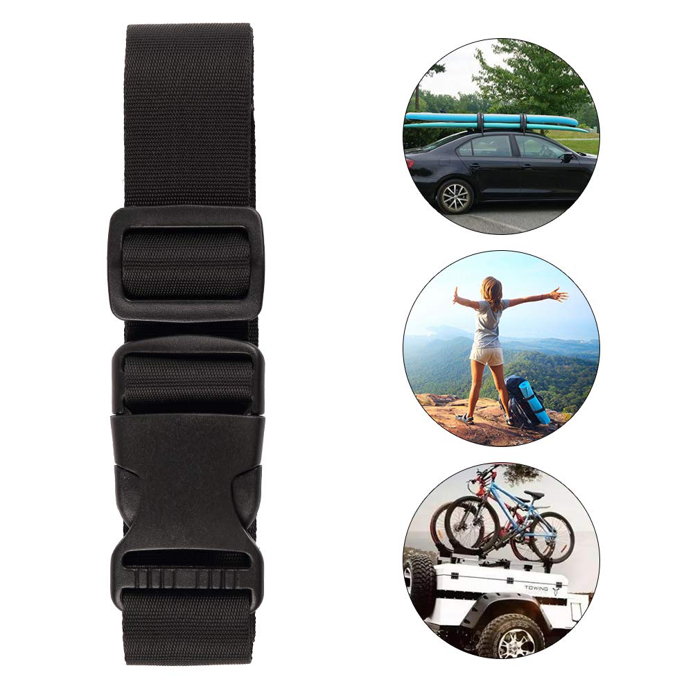 4 Pack Utility Straps with Buckle 72Lx1.25W Quick-Release Adjustable Nylon Straps Black