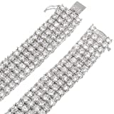 Mens 4-Row Rhodium Plated Iced Out Hip Hop Bling Clear CZ Chain Necklace, 32'' + Jewelry Polishing Cloth