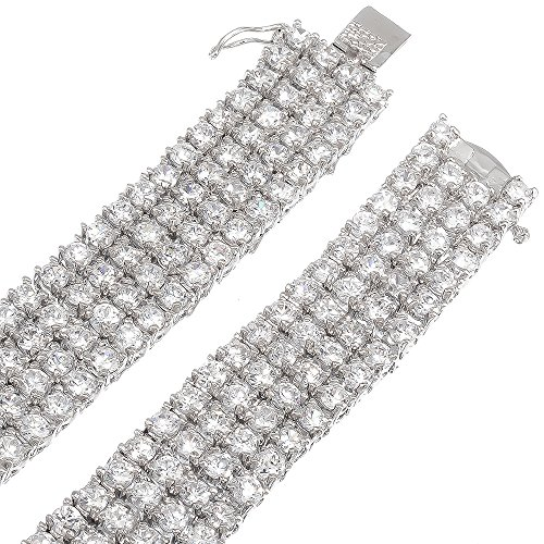 Mens 4-Row Rhodium Plated Iced Out Hip Hop Bling Clear CZ Chain Necklace, 32'' + Jewelry Polishing Cloth by The Bling Factory