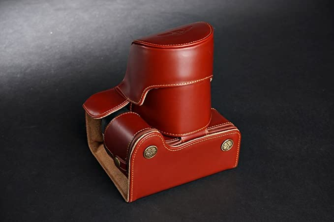 Handmade Genuine real Leather Half Camera Case bag cover for Nikon P600 with 60X Zoom Lens Black Color