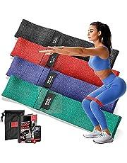 Motståndsband Set – Ögla Material/Gummi Fitness Band + Tränings eBook & Väska   Elastisk Gymnastisk Styrka Träning Workout, Sjukgymnastik   Sport Yoga Pilates Bodybuilding Rumpa Gym Man Kvinna