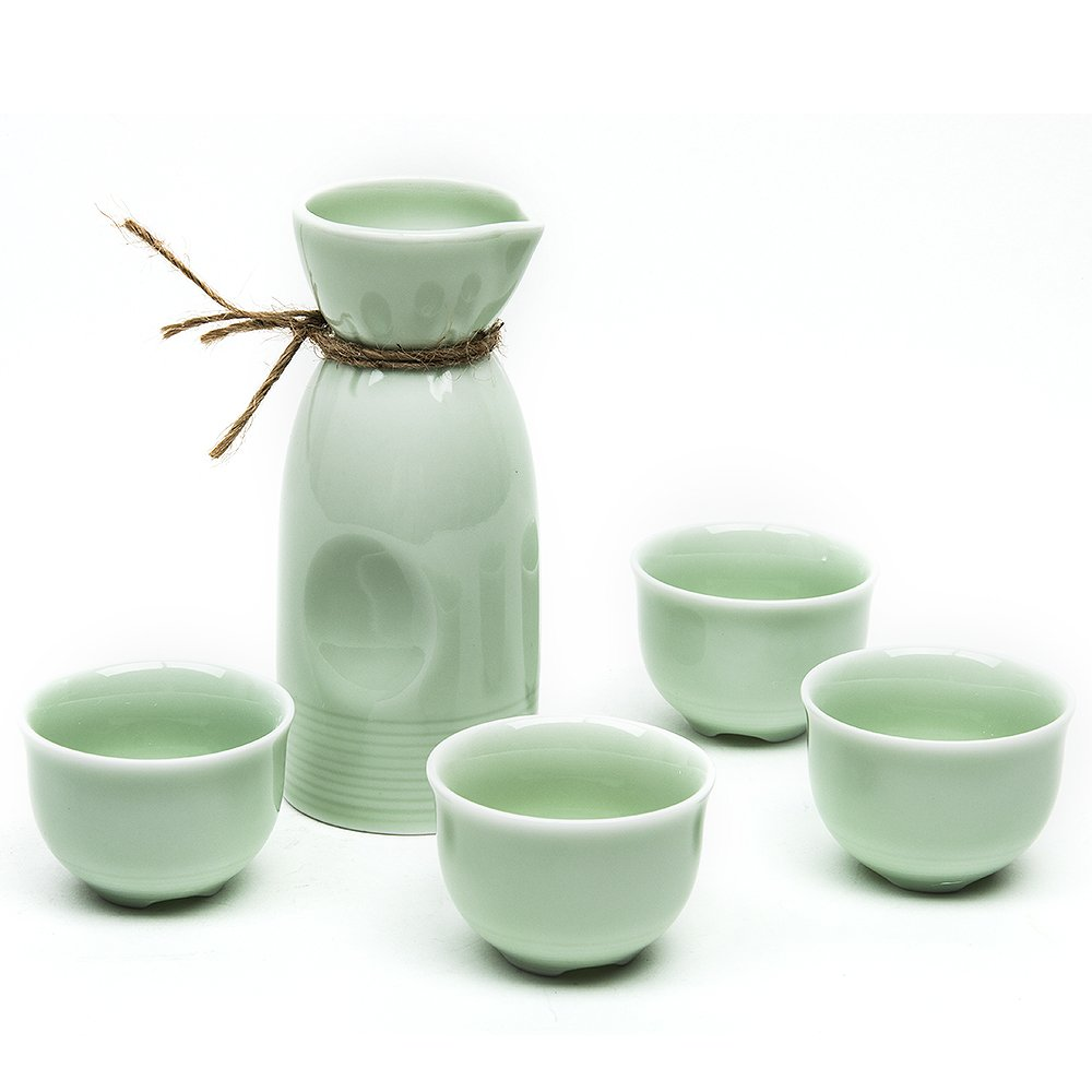 Japanese Sake Set, 5 Pieces Sake Set with Bamboo Cup Clip Celadon Hand Painted Design Porcelain Pottery Traditional Ceramic Cups Crafts Wine Glasses (Green)