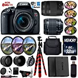 Canon EOS Rebel T7i DSLR Camera 18-55mm is STM Lens & 75-300mm III Lens + UV FLD CPL Filter Kit + 4 PC Macro Kit + Wide Angle & Telephoto Lens + Case + Tripod + Card Reader- International Version