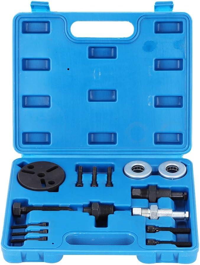Gorgeri Extractor de embrague de compresor de aire acondicionado, 15 piezas/juego Extractor de aire acondicionado automotriz Kit de herramientas de parte de extractor de embrague de compresor