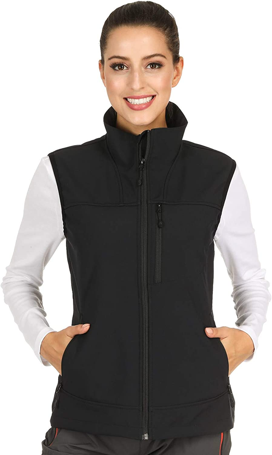 MIER Women's Lightweight Softshell Vest Front-Zip Outdoor Water-Resistant Vest with 7 Pockets, Fleece Lined, Black