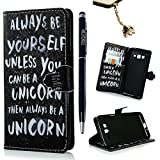 MOLLYCOOCLE Grand Prime Case - [English Quote] Stand Wallet Purse Credit Card Holders TPU Soft Bumper Premium Black PU Leather Ultra-slim Fit Cover for Samsung Galaxy Grand Prime,G5308,G530H