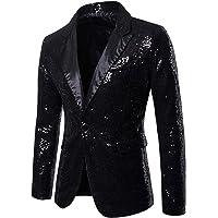 F Fityle Stylish Shiny Sequins Gentleman Mens Tuxedo Suit One Button Dance Coat Blazer Jacket