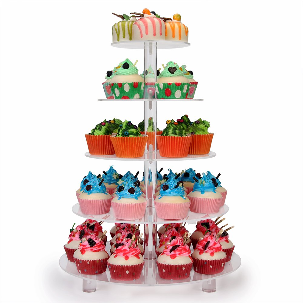 NeoBee 5-Tier Wedding Party Acrylic cake stand with BASE and screw connection, stronger and more stable,cupcake stands,cupcake display. (5 Tier Round)