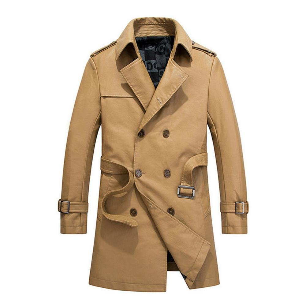 Men's Vintage Style Coats and Jackets Hzcx Fashion Mens Faux Leather Double Breasted Long Trench Coats with Belt $44.90 AT vintagedancer.com