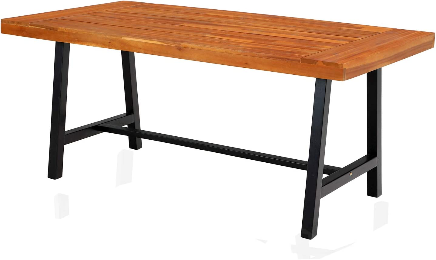 """PHI VILLA Outdoor Acacia Wood Dining Table, 68"""" Long Oil Finished Teak Wooden Dining Table Supports 550lbs for 6 People, Patio, Yard, Deck, Porch"""