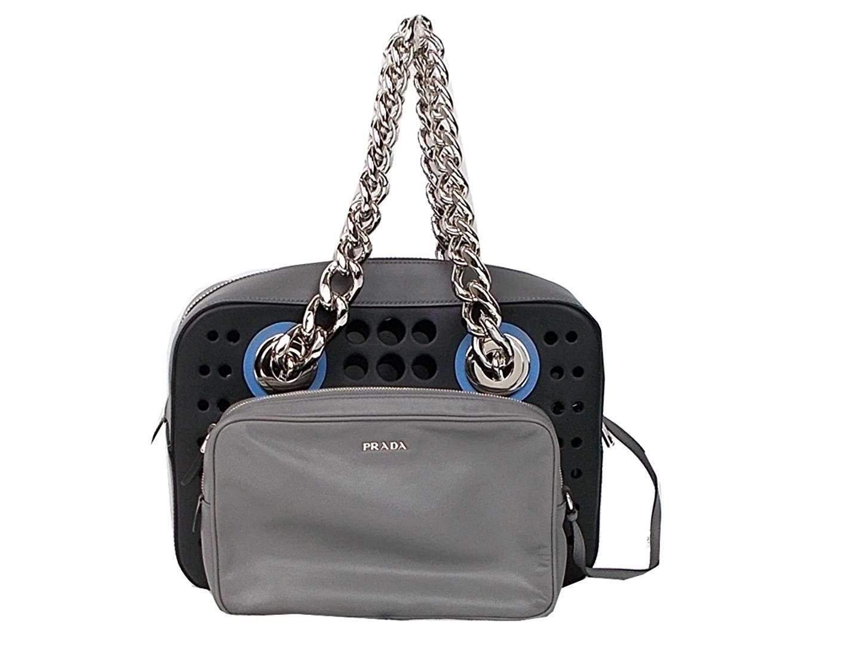 f112daedafdb Amazon.com  Prada Women s City Fori Black Gray Blue Handbag Satchel  Shoulder Bag 1BB017  Home   Kitchen