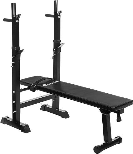 Tectake Banc De Musculation Avec Support De Bar Pliable Reglable Ajustable D Appartement Amazon Fr Sports Et Loisirs