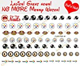 steelers Pittsburgh Steelers Clear Vinyl PEEL and STICK (NOT Waterslide) nail decals/stickers V1 (Set of 69)