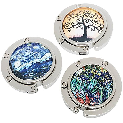 ROFLYER Purse Hook Set of 3 - Lucky Tree,The Starry Night and Flower Pattern Foldable Handbag Hanger Safer Cleaner Bag, Fold Up For Easy Storage,Folding Table Hanger, with Velvet Pouch