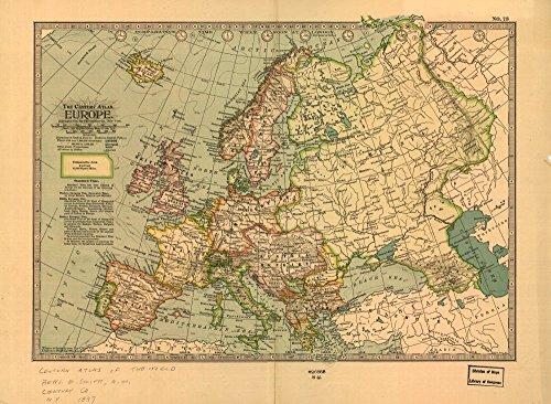 Vintage 1897 Map of Europe. Europe - 1897 Map