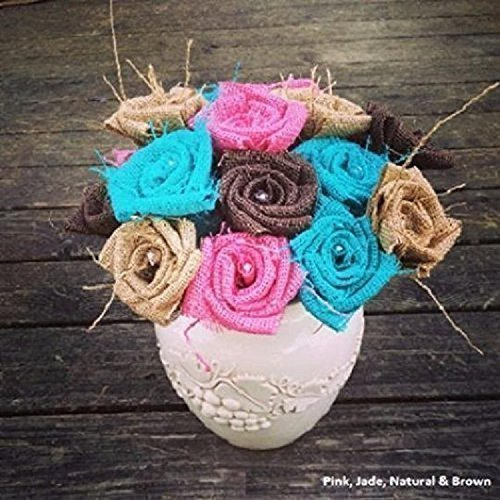 Burlap Flowers with Stem 3 pink, 3 jade, 3 natural, 3 brown (12 total) Burlap Rose Flowers with Stem Wedding Decor Flowers Rustic Bouquet with Wooden Stems