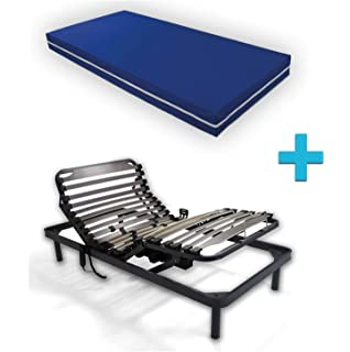 Duermete Cama Eléctrica Articulada Reforzada 5 Planos + Colchón Sanitario Funda Impermeable, 90…