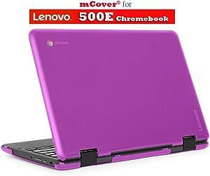 """mCover Hard Shell Case for 2018 11.6"""" Lenovo 500E series 2-in-1 Chromebook Laptop (NOT fitting Lenovo N21 / N22 / N23 /100E / 300E / FLEX 11 Chromebook) (C500E Purple)"""