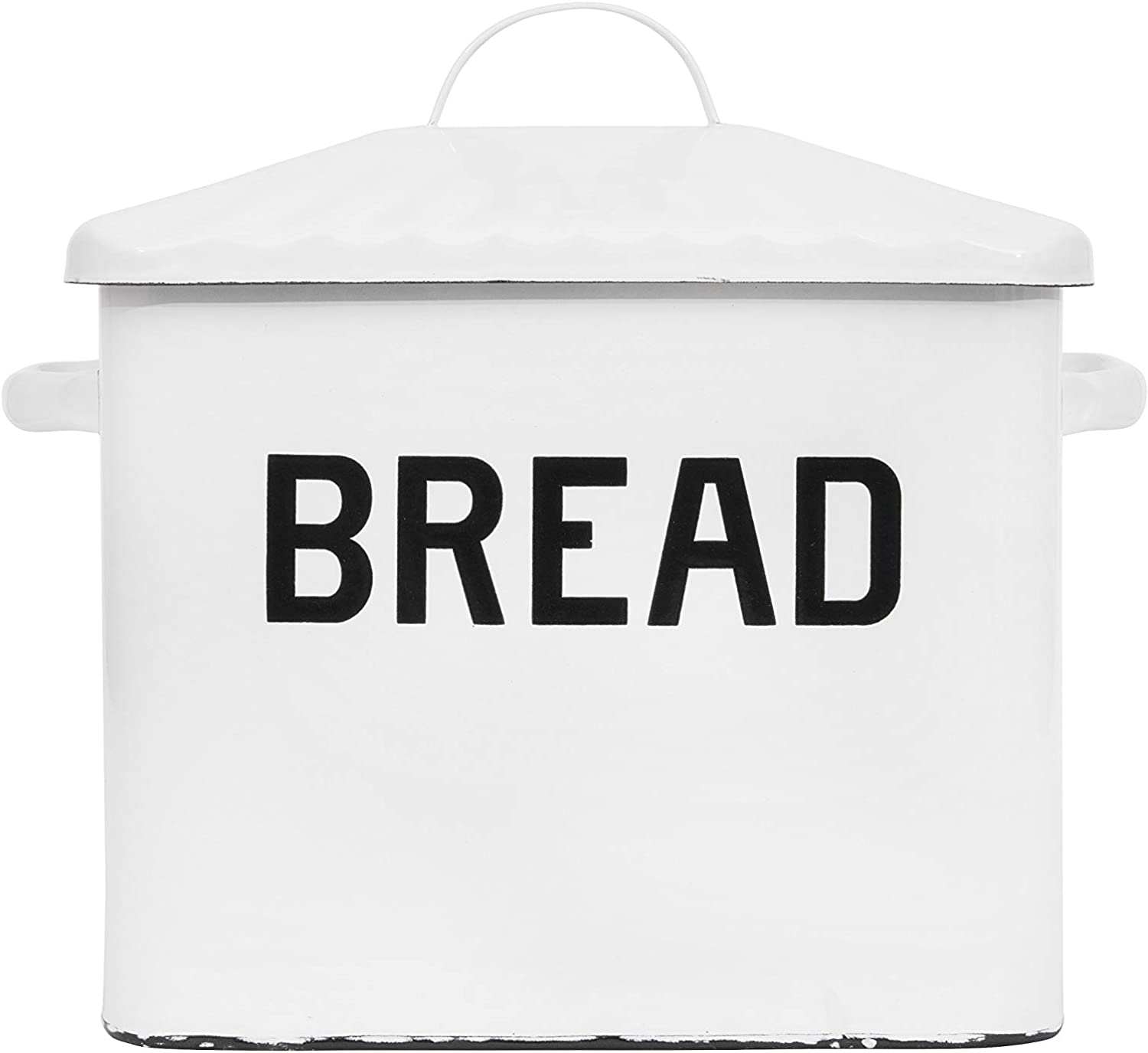 Shop Creative Co-op Enameled Metal Distressed Bread Box with Lid from Amazon on Openhaus